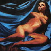 Fine Art Nude Multimedia Painting Tanya Sitting Reclined On Blue Poster