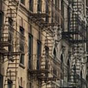 Fire Escapes On Brownstone Apartment Poster