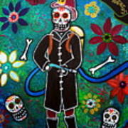 Firefighter Day Of The Dead Poster by Pristine Cartera Turkus
