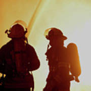 Firefighters In Silhouette Poster