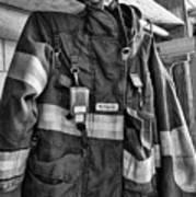 Fireman - Saftey Jacket Black And White Poster