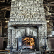 Fireplace At The Lodge Vertical Poster