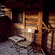 Firewood And A Chair On The Porch Poster by Joel Sartore