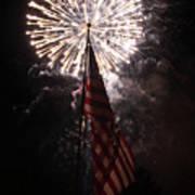 Fireworks Behind American Flag Poster