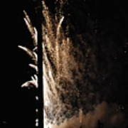 Fireworks Behind The Street Light Poster