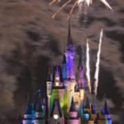 Fireworks Over Disney Castle Poster