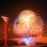 Fireworks Over The Golden Gate Bridge Poster