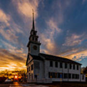 First Parish Church In Milton Massachusetts Sunset Poster