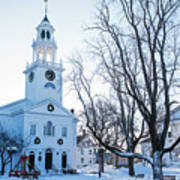 First Parish Church Manchester Ma North Winter Snow Poster