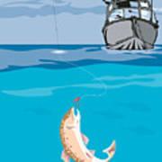 Fisherman Fishing Trout Fish Retro Poster by Aloysius Patrimonio