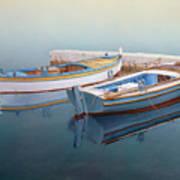 Coastal Wall Art, Fisherman In A Calm, Fishing Boat Paintings Poster