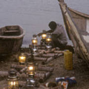 Fisherman Prepares Lanterns For Night Poster