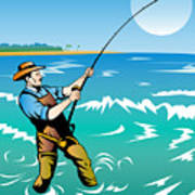 Fisherman Surf Casting Poster