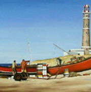 Fishermen By Lighthouse Poster