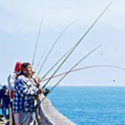Fishermen On Commercial Pier In Monterey-california  Poster