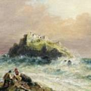Fishermen On The Rocks Before A Castle Poster