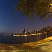 Fisheye Chicago Skyline At Dawn Poster