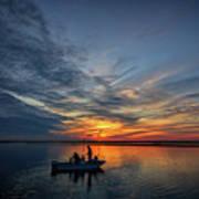 Fishing At Sunset Poster