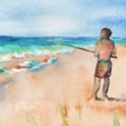 Fishing At The Beach Watercolor Poster