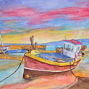 Fishing Boat At Low Tide Poster