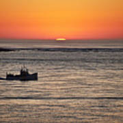Fishing Boat At Sunrise. Poster