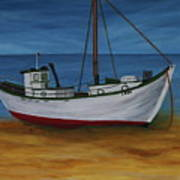 Fishing Boat On Baltic Sea Beach Poster
