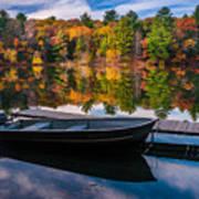 Fishing Boat On Mirror Lake Poster