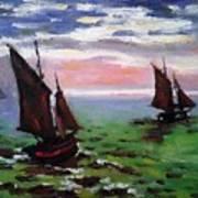 Fishing Boats At Sea Poster