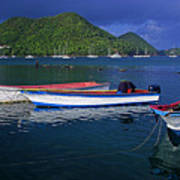 Fishing Boats At Sunrise- St Lucia Poster