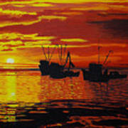 Fishing Boats At Sunset Poster