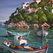 Fishing Boats In Skiathos Old Port Poster