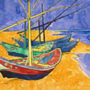 Fishing Boats On The Beach At Saintes Maries De La Mer Poster