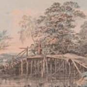 Fishing By A Footbridge Poster