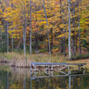 Fishing Dock In The Fall Poster