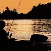 Fishing From A Rock Ae Poster