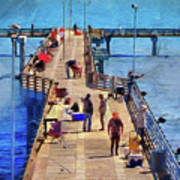 Fishing Off Galveston Pier Poster