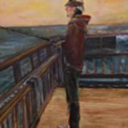 Fishing Off Sausalito Boardwalk Poster
