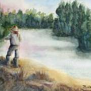 Fishing On The Banks Of The Churchill River, Sask, Ca Poster