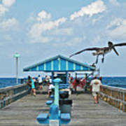 Fishing Pier With Flying Pelican Poster