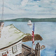 Fishing Shack With Old Glory Poster