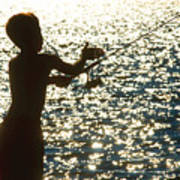 Fishing Silhouette Youngster Poster