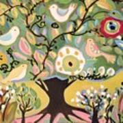 Five Birds In Garden Tree Poster
