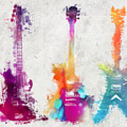 Five Colored Guitars Poster