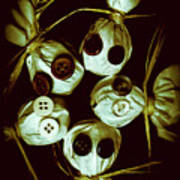 Five Halloween Dolls With Button Eyes Poster