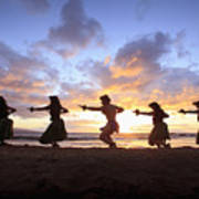 Five Hula Dancers At Sunset At The Beach At Palauea Poster by David Olsen