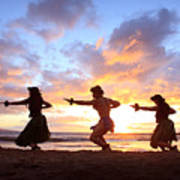 Five Hula Dancers At Sunset Poster by David Olsen