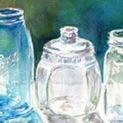 Five Jars In Window Poster