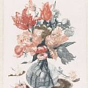 Five Prints With Flowers In Glass Vases, Anonymous, After Jean Baptiste Monnoyer, 1688 - 1698 Poster