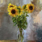 Five Sunflowers Centered Poster by Lois Bryan