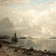 Fjord Landscape With Figures Poster